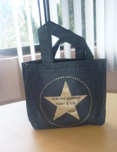 mini bolsa ecologica biodegradable impreso dorado