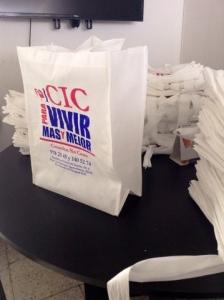 bolsas ecologicas blancas con fuelle de 15