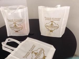 bolsas ecologicas con fuelle imrpesion una tinta dorada Puebla