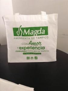 bolsas ecologicas impresas 1 tinta con fuelle verde
